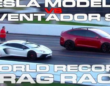 Lamborghini Aventador SV против Tesla Model X P100D драг рейс на четверть мили