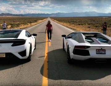 Drag Race 2016 Acura NSX против Lamborghini Aventador