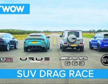 Lamborghini Urus vs Tesla Model X vs Mercedes-AMG G63 vs Range Rover Sport SVR – DRAG RACE